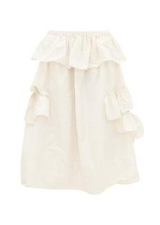 Simone Rocha Asymmetric ruffle-trimmed taffeta midi skirt