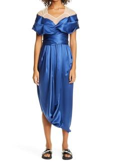 Simone Rocha Asymmetrical Drape Silk Dress
