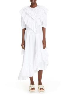 Simone Rocha Asymmetrical Ruffle Cotton Poplin Midi Dress