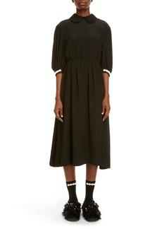 Simone Rocha Beaded Cuff Puff Sleeve Silk Midi Dress