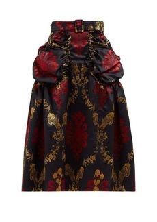 Simone Rocha Belted floral-brocade midi skirt