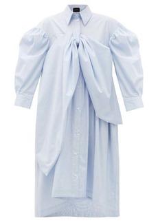 Simone Rocha Bow-front striped cotton-poplin shirt dress