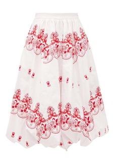 Simone Rocha Cherub-embroidered cotton bubble-hem skirt