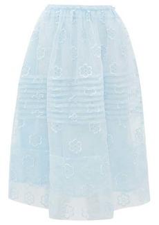 Simone Rocha Daisy-embroidered pintucked organza skirt