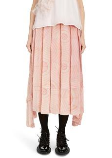 Simone Rocha Deconstructed Pleated Silk Crêpe de Chine Midi Skirt