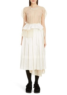 Simone Rocha Deconstructed Pleated Taffeta Midi Dress