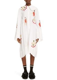 Simone Rocha Embroidered Long Sleeve Cotton Dress