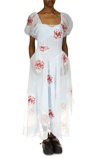 Simone Rocha Embroidered Open Neck Asymmetrical Tulle Dress