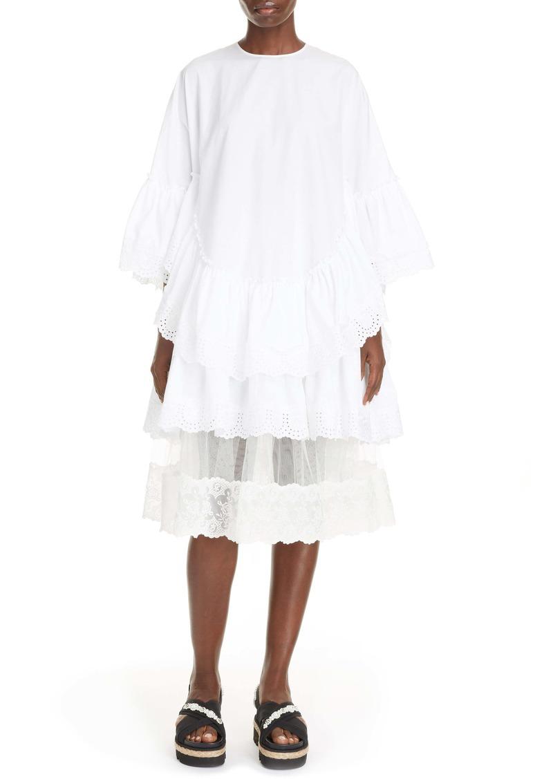 Simone Rocha Eyelet Trim Tiered Cotton Poplin Dress