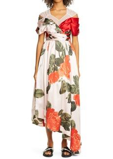 Simone Rocha Floral Asymmetrical Silk Dress