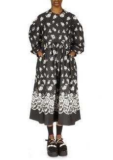 Simone Rocha Floral Print Long Sleeve Midi Dress