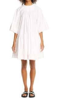 Simone Rocha Gathered Drop Waist Lace Trim Dress