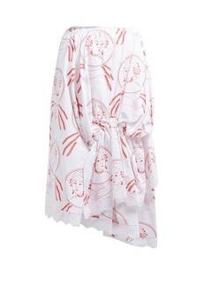 Simone Rocha Lady-print asymmetric cotton skirt