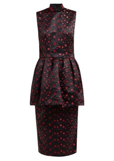 Simone Rocha Peplum-panel floral-embroidered satin dress