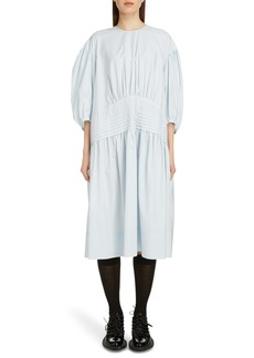 Simone Rocha Pintuck Pleat Cotton Poplin Midi Dress