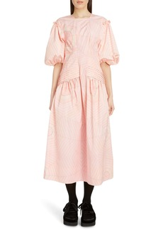 Simone Rocha Pintuck Pleat Print Taffeta Midi Dress