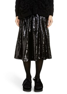 Simone Rocha Pleated Sequin Midi Skirt