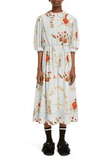 Simone Rocha Print Puff Sleeve Silk Dress