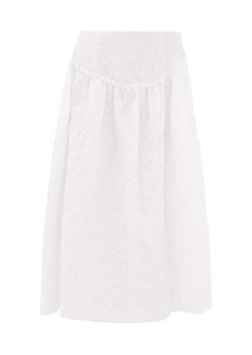Simone Rocha Ruffled floral-cloqué midi skirt