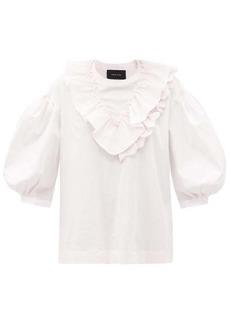 Simone Rocha Ruffled puff-sleeve cotton top