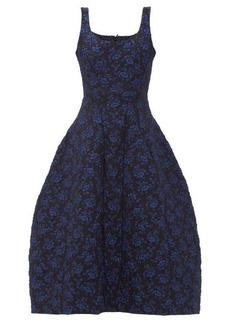 Simone Rocha Scoop-neck floral-brocade dress