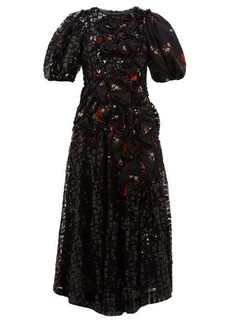 Simone Rocha Sequinned floral-print crepe midi dress