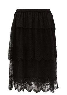 Simone Rocha Tiered-lace midi skirt