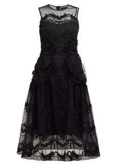 Simone Rocha Tinsel-embroidered tulle midi dress