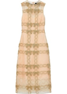 Simone Rocha Woman Appliquéd Tinsel-trimmed Tulle Midi Dress Gold