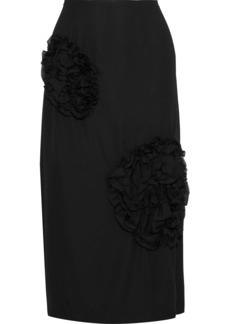 Simone Rocha Woman Appliquéd Washed-crepe Midi Skirt Black