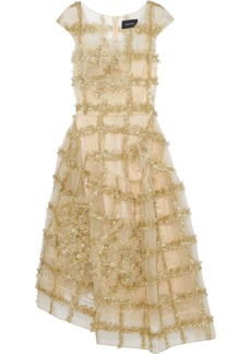 Simone Rocha Woman Asymmetric Appliquéd Tinsel-trimmed Tulle Midi Dress Gold