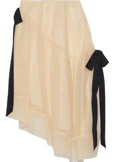 Simone Rocha Woman Asymmetric Bow-detailed Tulle Skirt Beige
