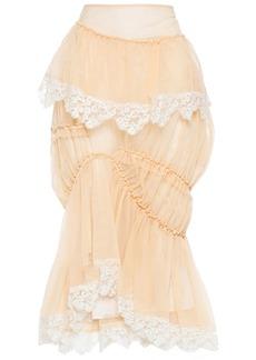 Simone Rocha Woman Asymmetric Lace-trimmed Gathered Tulle Skirt Peach