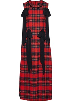 Simone Rocha Woman Bead-embellished Bow-detailed Checked Crepe Midi Dress Red