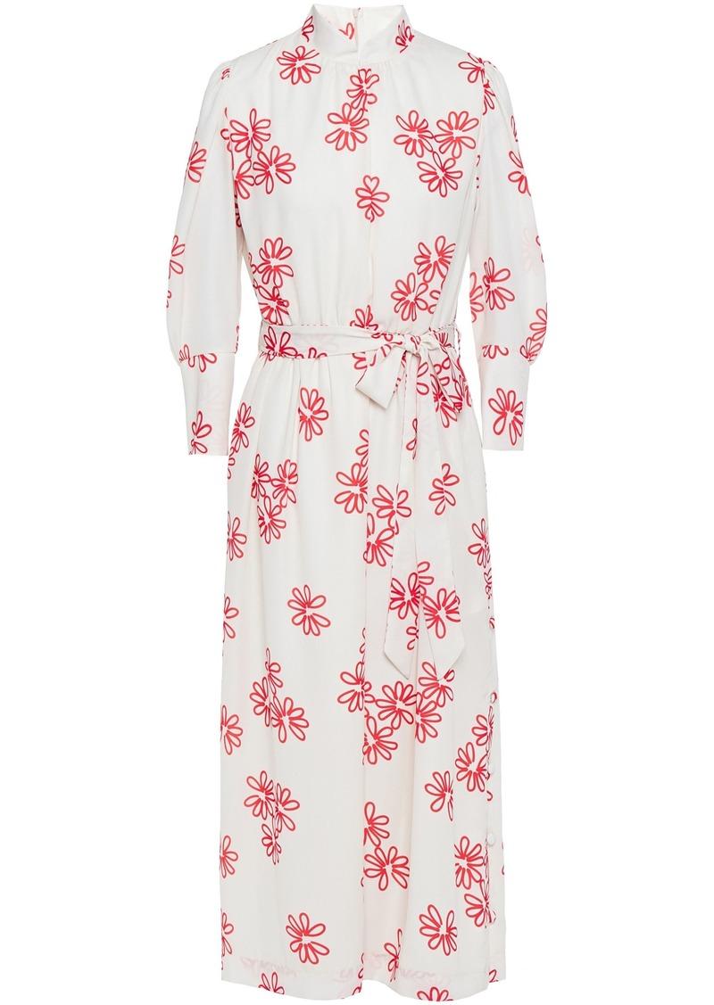 Simone Rocha Woman Belted Floral-print Crepe De Chine Midi Dress White
