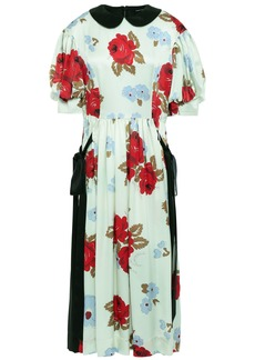 Simone Rocha Woman Bow-detailed Floral-print Silk-satin Midi Dress Light Green