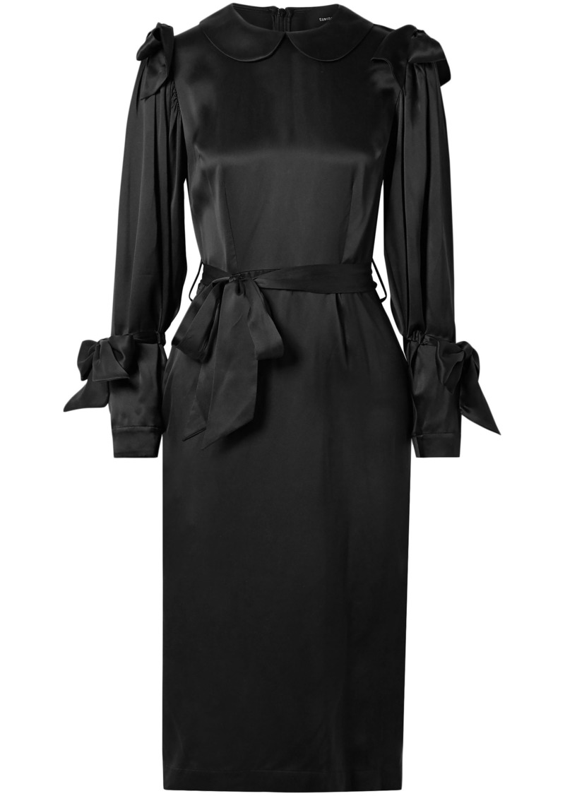Simone Rocha Woman Bow-embellished Silk-satin Dress Black