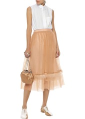 Simone Rocha Woman Feather-trimmed Tulle Midi Skirt Sand