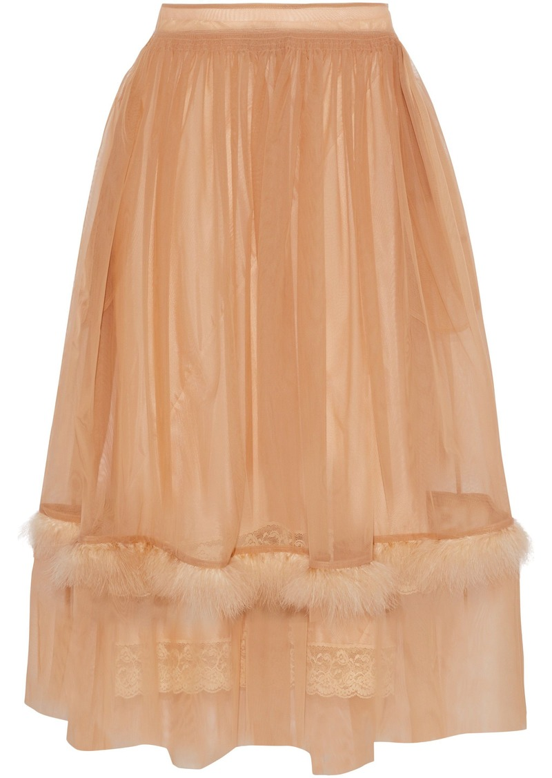 Simone Rocha Woman Feather-trimmed Tulle Midi Skirt Sand