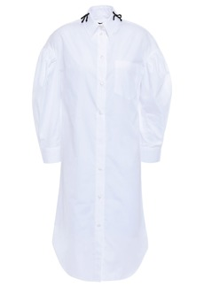 Simone Rocha Woman Gathered Bead-embellished Cotton-poplin Shirt Dress White