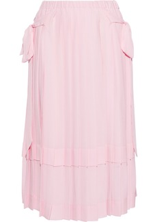 Simone Rocha Woman Pleated Bow-detailed Crepe Skirt Baby Pink