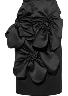 Simone Rocha Woman Ruched Satin-paneled Wool-blend Twill Skirt Black