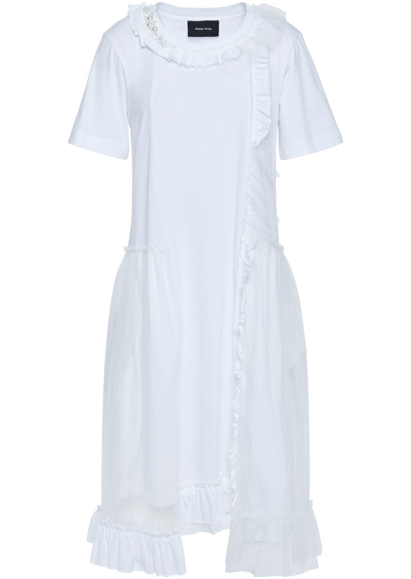Simone Rocha Woman Ruffle-trimmed Embellished Tulle And Cotton-jersey Dress White