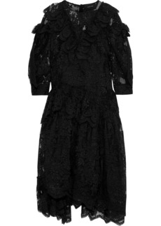 Simone Rocha Woman Ruffled Lace Midi Dress Black