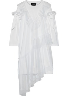 Simone Rocha Woman Ruffled Layered Tulle And Cotton-jersey Mini Dress White