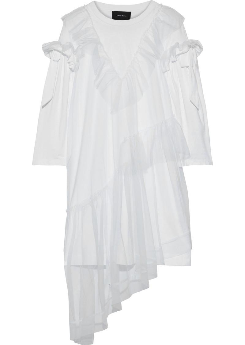 Simone Rocha Woman Ruffled Layered Tulle And Cotton-jersey Mini Dress White