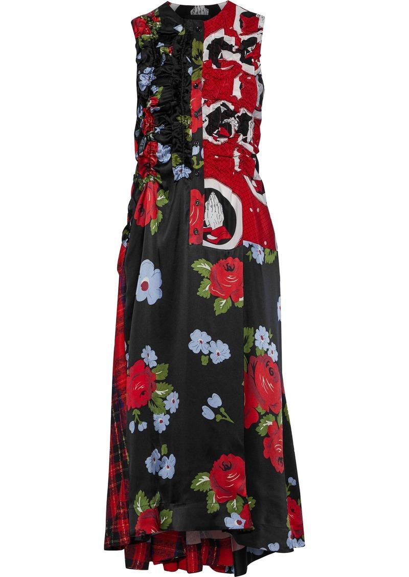 Simone Rocha Woman Ruffled Paneled Printed Silk Midi Dress Black