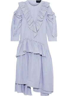 Simone Rocha Woman Asymmetric Ruffled Striped Cotton-poplin Midi Dress Blue
