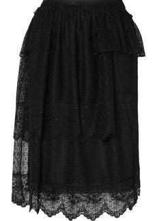Simone Rocha Tiered Ruffled Corded Lace Midi Skirt