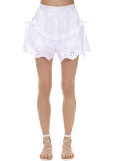 SIR the label Delilah Ruffled Cotton Poplin Shorts